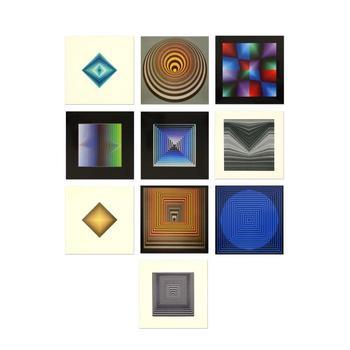 "Victor Vasarely (1908-1997), ""Vonal Portfolio"" Includes 10 Heliogravure Prints, Titled Inverso."