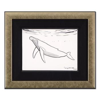 """Wyland, """"Humpback Whale"""" Framed Original Sketch, Hand Signed with Certificate of Authenticity."""