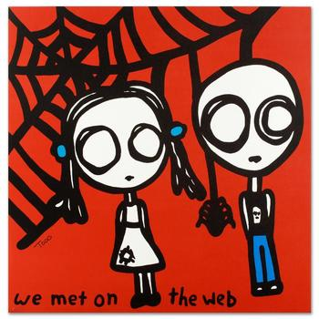 "Todd Goldman, ""We Met on the Web"" Ltd Ed Lithograph, Numbered and Hand Signed with Certificate of Authenticity."