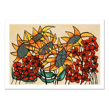 "Avi Ben-Simhon, ""Sunflowers"" Limited Edition Serigraph, Numbered and Hand Signed with Certificate."