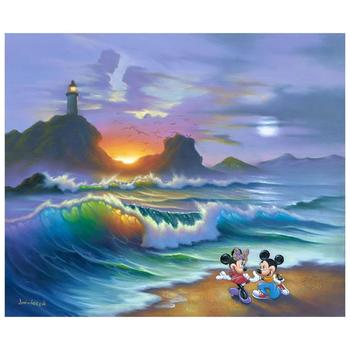 "Jim Warren ""Mickey Proposes to Minnie"" Disney Premier Limited Edition Hand Embellished Giclee on Canvas; Hand Signed; COA"