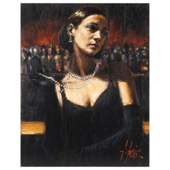 "Fabian Perez, ""Gloves & Pearls"" Hand Textured Limited Edition Giclee on Canvas. Hand Signed and Numbered AP 7/35"