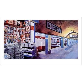 "Ken Keeley, ""My Underground: 34th St Station"" Limited Edition Serigraph, Numbered and Hand Signed."