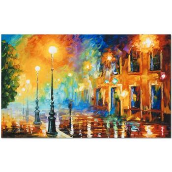 "Leonid Afremov (1955-2019) ""Misty City"" Limited Edition Giclee on Gallery Wrapped Canvas, Numbered and Signed."