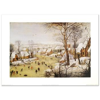 "Brueghel (d.1636), ""Winter Landscape w/Skaters and Bird-Trap""Fine Art Print, Using EncreLuxe Printing."