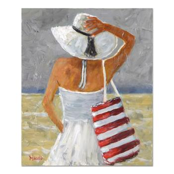"""Michael Maselli, """"Beach Day"""" Original Acrylic Painting on Canvas, Hand Signed with Certificate of Authenticity."""
