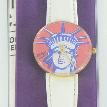 """Vintage Peter Max """"Liberty Head"""" Watch with Original Packaging and Paperwork."""