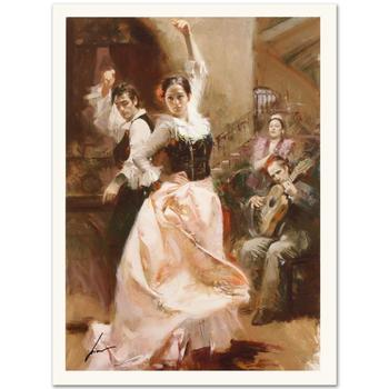 "Pino (1931-2010), ""Dancing In Barcelona"" Ltd Ed on Canvas, Numbered and Hand Signed with Certificate of Authenticity."