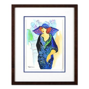Patricia Govezensky, Framed Original Mixed Media Watercolor Painting, Hand Signed with Certificate of Authenticity.