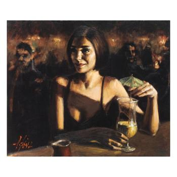 "Fabian Perez, ""Cocktail In Maui"" Hand Textured Limited Edition Giclee on Board. Hand Signed and Numbered AP 21/35"