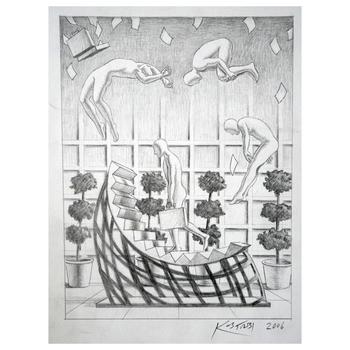 """Mark Kostabi """"The Cycle Of Investment"""" Hand Signed Original Artwork with COA."""