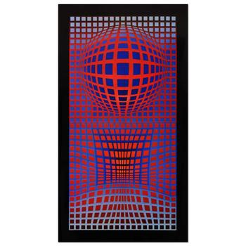 """Victor Vasarely (1908-1997), """"VP-RB"""" Heliogravure Print, Titled Inverso."""