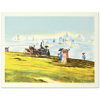 """William Nelson, """"Sunday by the Lake"""" Limited Edition Serigraph, Numbered and Hand Signed by the Artist."""