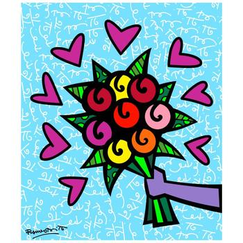 """Romero Britto """"Thank You"""" Hand Signed Limited Edition Giclee on Canvas; COA"""