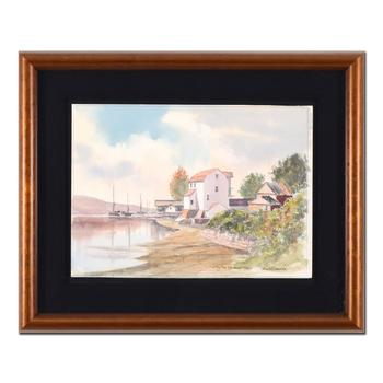 "Martin Goode (1932-2002), ""The Tide Mill, Woodbridge"" Framed Original Watercolor Painting, Hand Signed with Certificate."
