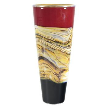 """""""Large Ruby Strata Cone"""" Hand Blown Glass Vase Sculpture, Hand Signed by GartnerBlade Glass."""