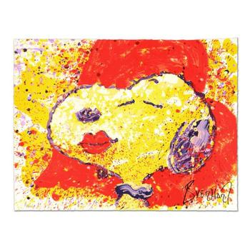 """Tom Everhart, """"A Kiss is Just a Kiss"""" Limited Edition Hand Pulled Original Lithograph Numbered 111/350 and Hand Signed with LOA."""