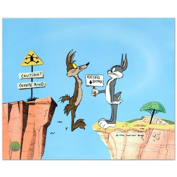"""Chuck Jones (d. 2002), """"Coyote Crossing"""" Ltd Ed Animation Cel w/Hand Painted Color, Numbered & Hand Signed w/Cert (Disclaimer)"""