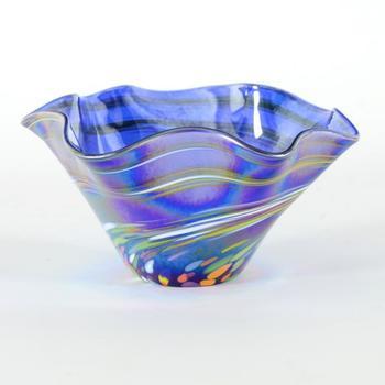 "Glass Eye Studios, ""Mini Wave Bowl (Blue Rainbow Twist)"" Hand Blown Glass  Sculpture (Second)."