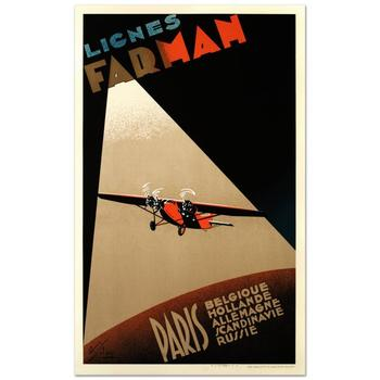 """""""Farman Airlines"""" Hand Pulled Lithograph (22""""x37"""") by the RE Society, Image Orig. by Albert Solon with Cert."""