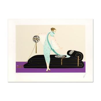 "Erte (1892-1990), ""Salon"" Limited Edition Embossed Serigraph, Numbered and Hand Signed with Certificate of Authenticity."