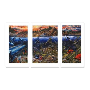 "Robert Lyn Nelson, ""Underwater World"" Ltd Ed Mixed Media Triptych (48"" x 29""), Numbered and Hand Signed with Cert."