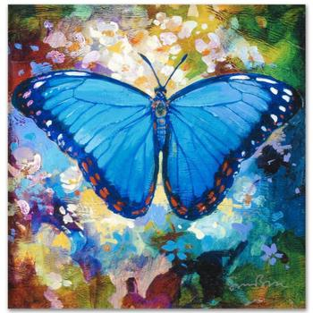 "Simon Bull, ""Blue Morpho"" Gallery Wrapped Ltd Ed Giclee on Canvas, Numbered and Signed."