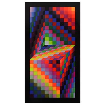 "Victor Vasarely (1908-1997), ""Axo-77"" Heliogravure Print, Titled Inverso."