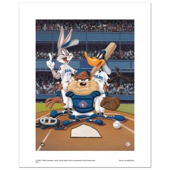"""At the Plate (Blue Jays)"" Numbered Limited Edition Giclee from Warner Bros. with Certificate of Authenticity."