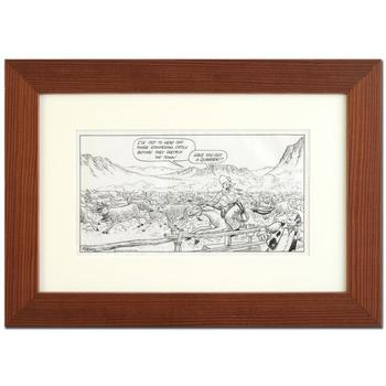 "Bizarro, ""Old West Stampede"" is a Framed Original Pen & Ink Drawing by Dan Piraro, Hand Signed by the Artist with COA."