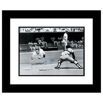 """""""Pete Rose Diving"""" Archival Photograph Taken on July 30, 1972, Autographed by Pete Rose."""