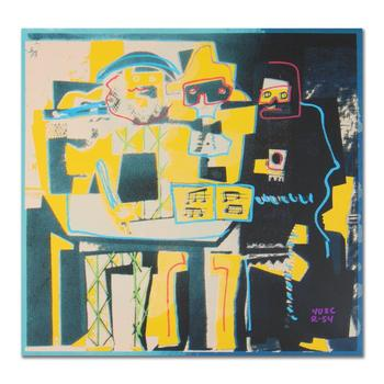 """Ringo, """"Three Musicians (Picasso Homage)"""" One-of-a-Kind Hand-Pulled Silkscreen & Mixed Media on Canvas, Hand Signed; COA"""