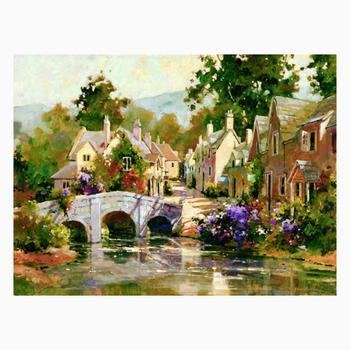 """Marilyn Simandle, """"Bridge in Cotswold"""" Limited Edition on Canvas, Numbered and Hand Signed with Letter of Authenticity."""