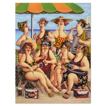 """Carlos Ferreyra, """"At the Beach"""" Ltd Ed Serigraph on Clay-Board, Numbered and Hand Signed with Certificate. $1,500"""