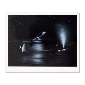 """Wyland, """"Orca Starry Night"""" Limited Edition Lithograph, Numbered and Hand Signed with Certificate of Authenticity."""