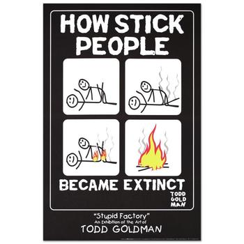 "Todd Goldman, ""How Stick People Became Extinct"" Fine Art Litho Poster (24"" x 36"")."