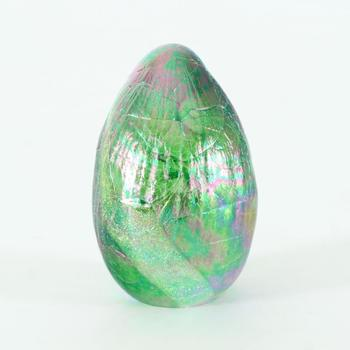 """Glass Eye Studios, """"Dichroic Egg - Terra"""" Hand Blown Glass Egg Sculpture (Second)."""
