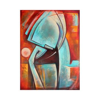 """Juan Cotrino """"Deep Thought"""" - Original Mixed Media Acrylic on Canvas, Hand Signed with Certificate of Authenticity."""