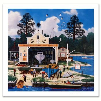 """Jane Wooster Scott, """"Salem Shipyard"""" Hand Signed Limited Edition Lithograph with Letter of Authenticity."""
