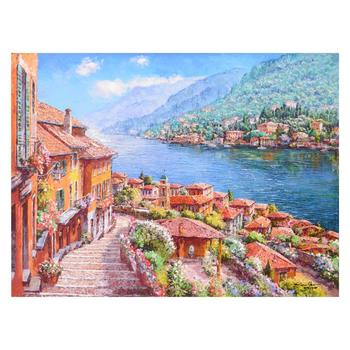 """Sam Park, """"Steps to Lake Como"""" Hand Embellished Ltd Ed Serigraph on Canvas, Numbered and Hand Signed with Cert."""