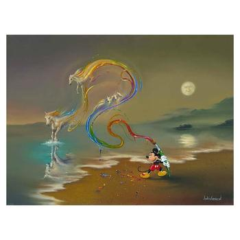 """Jim Warren """"Mickey the Artist"""" Disney Limited Edition Hand Embellished Giclee on Canvas; Hand Signed; COA"""