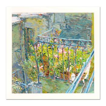 """Marco Sassone, """"Le Balcon Blue """" Limited Edition Serigraph, Numbered and Hand Signed with Letter of Authenticity."""