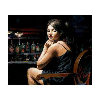 """Fabian Perez """"Saba at the Bar"""" Hand Embellished Limited Edition Canvas; Hand Signed, with COA."""