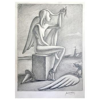 "Mark Kostabi ""Contemplating Intention"" Hand Signed Original Artwork with COA."