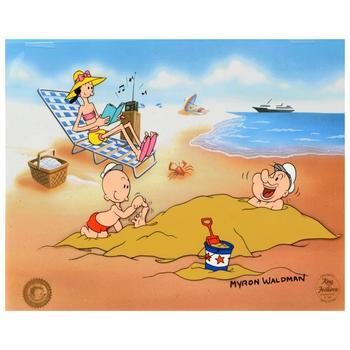 "Myron Waldman (d. 2006), ""A Day At The Beach"" Ltd Ed Hand Inked & Painted Animation Cel, No. & Hand Signed w/COA."
