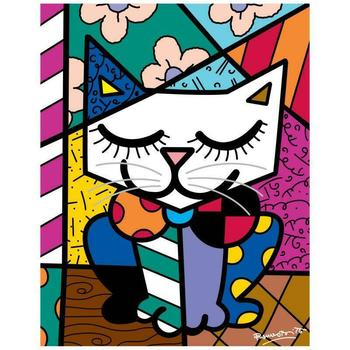 "Romero Britto ""New Sam Cat"" Hand Signed Giclee on Canvas; Authenticated"
