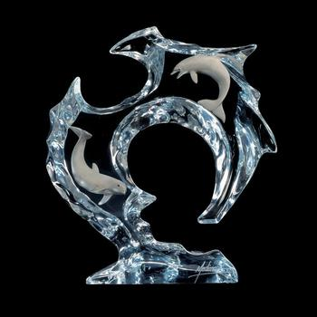 """Dan Medina, """"Flow"""" Limited Edition Mixed Media Lucite Sculpture with COA."""