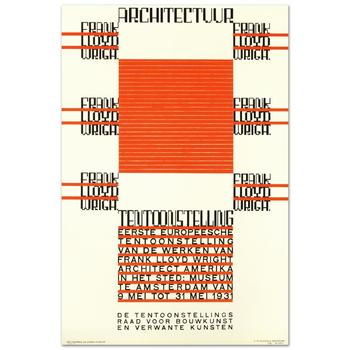 """RE Society, """"Architectuur, F.L. Wright"""" Hand Pulled Lithograph, Image Originally by Hendrikus T. Wijdeveld."""