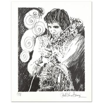 """Paul Blaine Henrie (1932-1999), """"Elvis (Holding Mic)"""" Ltd Ed Lithograph from a PP Edition and Hand Signed w/Cert."""