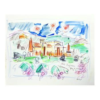 "Wayne Ensrud ""Clos Pegase, Napa Valley"" Mixed Media Original Artwork; Hand Signed; COA"